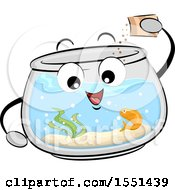 Clipart Of A Fish Bowl Mascot Feeding Its Pet Royalty Free Vector Illustration