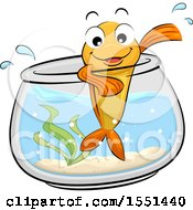 Happy Goldfish Mascot Waving From The Edge Of Its Bowl
