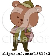 Clipart Of A Bear Scout Wearing A Backpack Royalty Free Vector Illustration