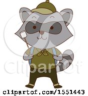 Clipart Of A Raccoon Scout Holding A Marshmallow On A Stick Royalty Free Vector Illustration