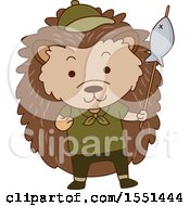 Clipart Of A Hedgehog Scout Holding A Fishing Spear Royalty Free Vector Illustration
