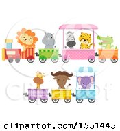 Clipart Of A Train With Zoo Animals Royalty Free Vector Illustration by BNP Design Studio