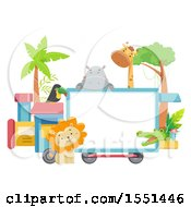 Clipart Of A Train With A Blank Sign And Zoo Animals Royalty Free Vector Illustration