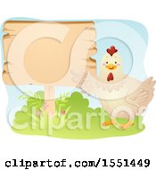 Chicken Presenting A Blank Sign