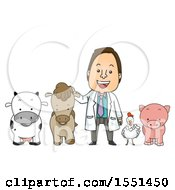 Male Livestock Veterinarian With A Cow Horse Chicken And Pig