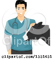 Clipart Of A Male Livestock Veterinarian Petting A Cow Royalty Free Vector Illustration by BNP Design Studio