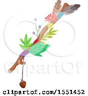 Clipart Of A Journey Stick With Leaves Flowers Feathers An Acorn And String Royalty Free Vector Illustration
