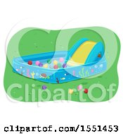 Clipart Of A Kiddie Pool With A Slide And Balls Royalty Free Vector Illustration