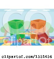 Clipart Of Toys At An Indoor Playground Royalty Free Vector Illustration