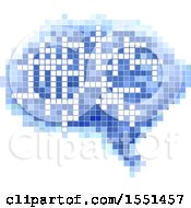 Clipart Of A Pixelated Brain Thought Cloud Cross Word Puzzle Royalty Free Vector Illustration