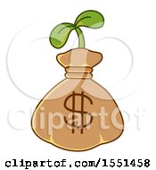 Clipart Of A Dollar Money Bag With A Seedling Plant Royalty Free Vector Illustration