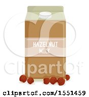 Clipart Of A Carton Of Hazelnut Milk And Nuts Royalty Free Vector Illustration