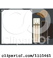 Clipart Of A Rice Paper Board With Japanese Calligraphy Tools From Ink Stone Brush And Pot Of Water Royalty Free Vector Illustration