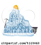 Clipart Of A Frozen Alphabet Mountain With Mining Equipment Royalty Free Vector Illustration