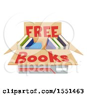 Clipart Of A Box Of Free Books Royalty Free Vector Illustration