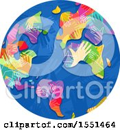 Globe With Colorful Hand Continents