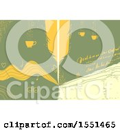 Clipart Of A Quill Pen Cups Handwritten Notes As Abstract Creative Writing Design Royalty Free Vector Illustration