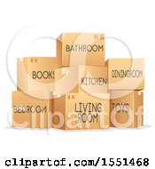 Clipart Of Marked Moving Boxes Royalty Free Vector Illustration