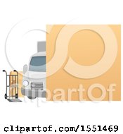 Clipart Of A Blank Sign Over A Moving Van Dolly And Boxes Royalty Free Vector Illustration