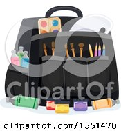 Clipart Of A Bag Of Artist Tools And Paint Royalty Free Vector Illustration