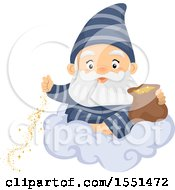 Clipart Of The Sandman Sitting On A Cloud And Sprinkling Dream Dust Royalty Free Vector Illustration