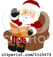 Clipart Of A Waving Santa Claus Sitting And Reading A Story Book Royalty Free Vector Illustration