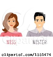 Clipart Of A Woman And Man With Miss And Mister Royalty Free Vector Illustration