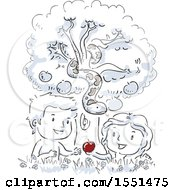Clipart Of A Sketched Scene Of Eve Giving An Apple To Adam Under A Snake Royalty Free Vector Illustration