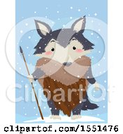 Tribal Wolf Mascot In The Snow