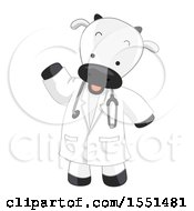 Poster, Art Print Of Cow Veterinarian Wearing A Lab Coat And Stethoscope