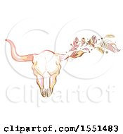 Poster, Art Print Of Boho Styled Bull Skull With Feathers