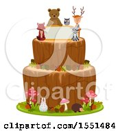 Clipart Of A Woodland Themed Cake With Forest Animals And A Sign Royalty Free Vector Illustration by BNP Design Studio