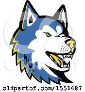 Clipart Of A Blue Siberian Husky Dog Mascot Head Royalty Free Vector Illustration