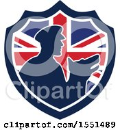 Clipart Of A Retro Silhouetted Security Guard And Dog In A Union Jack Flag Shield Royalty Free Vector Illustration