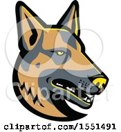 Clipart Of A German Shepherd Dog Mascot Head Royalty Free Vector Illustration by patrimonio