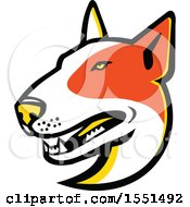 Clipart Of A Bull Terrier Dog Mascot Head Royalty Free Vector Illustration