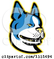 Clipart Of A Blue Boston Terrier Dog Mascot Head Royalty Free Vector Illustration