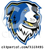 Clipart Of A Blue Border Collie Dog Mascot Head Royalty Free Vector Illustration