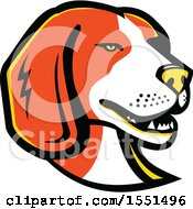 Clipart Of A Beagle Dog Mascot Head Royalty Free Vector Illustration