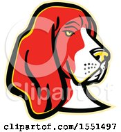 Clipart Of A Basset Hound Dog Mascot Head Royalty Free Vector Illustration by patrimonio