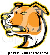 Clipart Of A Tough American Staffordshire Terrier Dog Mascot Head Royalty Free Vector Illustration