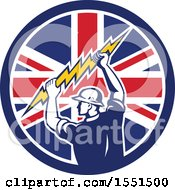 Poster, Art Print Of Retro Male Electrician Holding A Lightning Bolt In A Union Jack Flag Circle