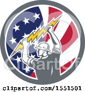 Clipart Of A Retro Male Electrician Holding A Lightning Bolt In An American Flag Circle Royalty Free Vector Illustration