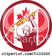 Retro Male Electrician Holding A Lightning Bolt In A Canadian Flag Circle