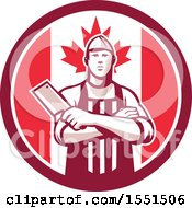 Retro Butcher Holding A Cleaver In Folded Arms Inside A Canadian Flag Circle