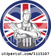 Retro Butcher Holding A Cleaver In Folded Arms Inside A Union Jack Flag Circle