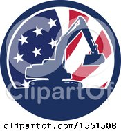 Clipart Of A Retro Silhouetted Excavator Machine In An American Flag Circle Royalty Free Vector Illustration