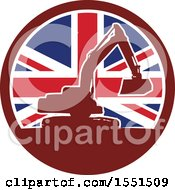 Clipart Of A Retro Silhouetted Excavator Machine In A Union Jack Flag Circle Royalty Free Vector Illustration