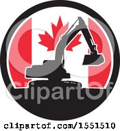 Clipart Of A Retro Silhouetted Excavator Machine In A Canadian Flag Circle Royalty Free Vector Illustration