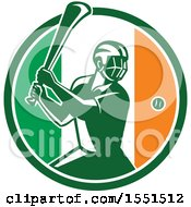 Retro Male Hurling Player In An Irish Flag Circle